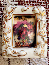 """Ivory W/ Gold Trim Flowers Porcelain Picture Frame Holds 2"""" X 2.25"""" Picture"""