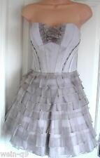 NEW KAREN MILLEN Layered Frill Tutu Dress Taupe Dresss DL175 RRP £235 Sz 12