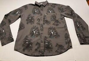 Walker Refinery Men's Shirt Long Sleeve Button Up Size Small Gray Black Gorilla