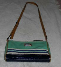Nine West Green Striped Cross Body Pocketbook Shoulder Bag Purse Hand Bag