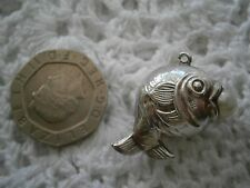Beautiful Vintage Sterling Silver Puffy Fish With Pearl Charm :)