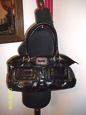 Euc Guess Black Shiny Patent Faux Croc Leather Shoulder Bag