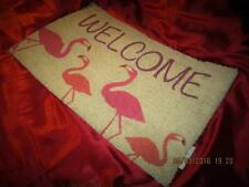 "TROPICAL PINK FLAMINGO ""WELCOME"" COIR DOOR MAT RUG CHRISTMAS GIFT"
