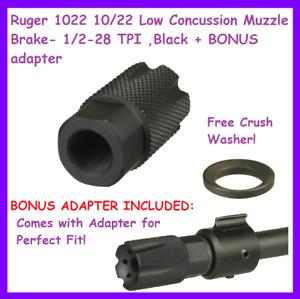 Ruger 1022 10/22 Low Concussion Muzzle Brake- 1/2-28 TPI ,Black + BONUS adapter