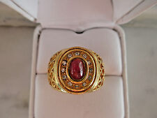 Antique Russian Style 14k Yellow Gold plated 6x4mm Natural Ruby Ring