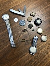 New listing Vintage Mens Junk Drawer Lot Random Watches Knife Tie Pin Misc Estate