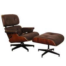 Fauteuil Lounge  & ottoman style Charles Eames , 100% Cuir Marron ,Bois de Rose