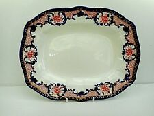 Royal Crown Derby antique sandwich / cake tray - cobalt, rust red, gold - 3654