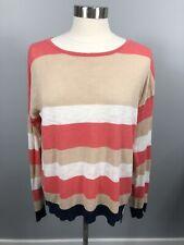 C & C California SZ S Coral Navy Tan White Striped Linen Lightweight Sweater