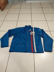 Vintage Ford Motors Cobra Red/White/Blue Stripe Racing Jacket Windbreaker Size L