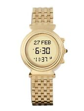 Alfajr Round Gold Plated Stainless Steel Azan Watch Triple Folding Clasp - Women