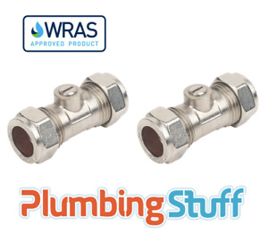 Isolating Valve - 15mm Compression Chrome - WRAS Approved - DOUBLE PACK