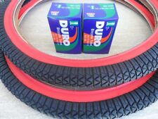 """20 x 1.95 BMX Bike Tires for Street Road Slick Includes Tubes NEW Red Wall 20"""""""