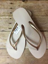 f8fc6b29411f Havaianas Gold Beige High Platform Wedge Sandal Flip Flops Women s Size 9  No Box
