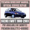 WORKSHOP MANUAL SERVICE & REPAIR GUIDE for SUZUKI SWIFT 1988-2003 +WIRING