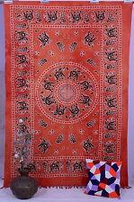 Indian Elephant Mandala Orange Tapestry Wall Hanging Psychedelic Large Decor