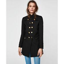 Zara Women Military Style Coat Black Size S NWT