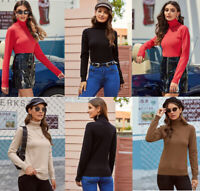 Women Ladies Roll Neck Plain Sweater Winter Casual Jumper Pullover Knitted Top