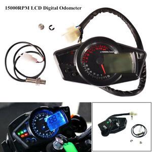DC 12V Motorcycle 15000RPM LCD Digital Odometer Speedometer Tachometer Gauge Set