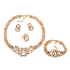 1 Set Fashion Gold Plated Crystal Jewelry Necklace Bracelet Earrings Ring Chic