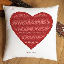 More details for metallica nothing else matters lyrics heart cushion 2nd cotton anniversary gift