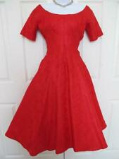 Vintage 50s Neiman Marcus Party Dress Xs 0 Back Ruffle Cascade Red Brocade Pinup