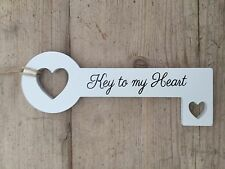 Key To My Heart White Wooden Hanging Key Shabby Chic Bedroom Office Study