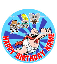 CAPTAIN UNDERPANTS:ROUND:Personalized Edible Cake Topper FREE SHIPPING in Canada