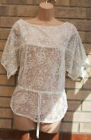 ZARA CREAM FLORAL EMBROIDERED LACE BELTED BEACH MESH TUNIC TOP BLOUSE SHIRT M