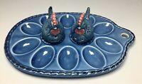 Vintage Viking Imports Blue Chicken Salt Pepper ShakersEgg Tray Holder Plate