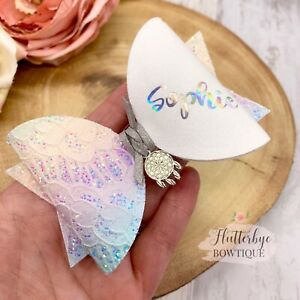 Personalised Pastel Rainbow Glitter Lace Hair bow, Dreamcatcher Name headband