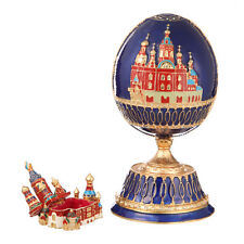 Russian Faberge Egg Music Box Church of Savior on Blood Petersburg 7.1'' blue