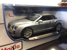 Maisto 1:18 Scale Diecast Model - Bentley Continental Supersports Conv (Silver)