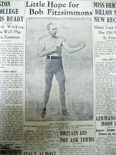 2 1919 newspapers with DEATH of Heavyweight Champion Boxer ROBERT FITZSIMMONS