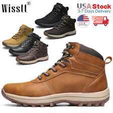 Men's Waterproof Leather Hiking Work Shoes Outdoor Water Boots Ankle Shoes 2021