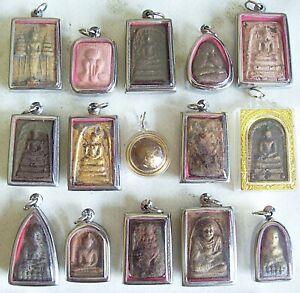 15 THAI BUDDHIST Buddha Buddhism Clay AMULET Medallions Charms Pendants Thai