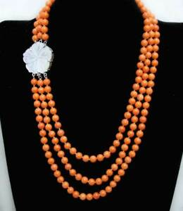 7mm Round Natural Orange Coral Necklace for Women 3 Strands Chokers 18'' Jewelry