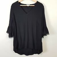 [ WITCHERY ] Womens Black V/Neck Blouse Top  | Size AU 12 or US 8