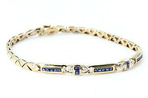 Diamant Armband Gold 585 Sapir 14K Gelbgold Länge 18cm 21 Saphire 4 Diamanten