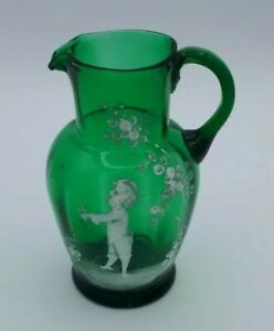 Small Antique Handpainted Mary Gregory Green Glass Jug 13 cms Tall