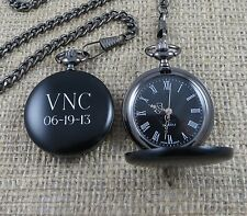 Black Personalized Pocket Watch by Tipo's Creations -Groomsman Gifts (BL938)