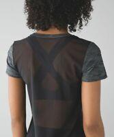 Lululemon Beat The Heat Short Sleeve Heathered Black Mesh Gray Luon T Shirt Sz 4