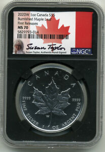 CANADA 2020W $5 BURNISHED MAPLE LEAF NGC MS70 FIRST RELEASES (SUSAN TAYLOR)