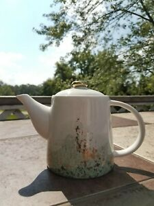 Pinky Up Reese Teapot Blue/gold ceramic & Infuser 8083 24 oz. open box mails NOW