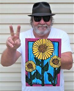 Still Life Floral Flowers Summer Sunflowers Dan C Outsider Folk Art Painting