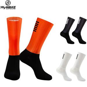 Anti Slip Silicone Aero  Whiteline Cycling Socks Men Bicycle Sport Running Bike