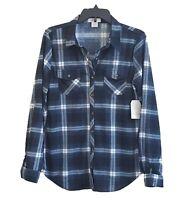 Women's Blue/Black Plaid Button Down Shirt Checkered Top Size S, M, L, XL