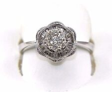 Round Diamond Cluster Lady's Ring Band 14k White Gold .40Ct