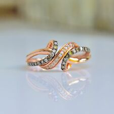 Brown & White Diamond Ring - 10k Rose Gold - Diamond Wrap Ring -Chocolate - Sz 7