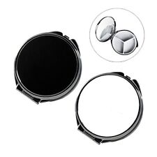 Round Metal Pill Box With Mirror (Black or Silver)